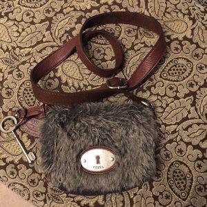 Maddox Brown Faux Fur Fossil Crossbody  Bag